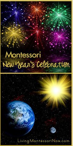 Ideas for a Montessori birthday celebration for the earth and Montessori-inspired New Year's countdown activities