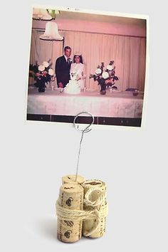 Save some corks from your wedding day and turn them into photo holders to display your favorite wedding picture. You can print the photos at Kodak Picture Kiosk. #wedding #photography #ideas #diy #craft