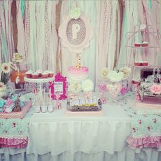 Beautiful shabby chic party!  See more party ideas at CatchMyParty.com!  #partyideas #shabbychic