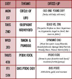 Spirit Week Dress Up Ideas   blog is for small school cheerleading squads Need Spirit Week Ideas ...