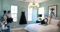 blue rooms, girl room, blue walls, blue christmas, blue teen, tiffani blue, paint design, teen girl, girls room tiffany blue