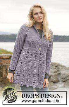 "Crochet DROPS jacket with fan pattern, raglan and shawl collar in ""Karisma"". Size: S - XXXL. ~ DROPS Design...pattern"