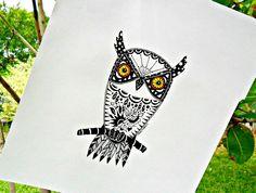 Owl Florida Screech  original drawing black and by LuckiiArts, $22.50