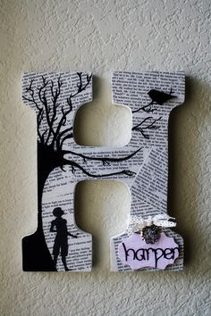 To Kill A Mockingbird theme Painted Wooden Wedding or Nursery  Initial Monogram Letters. Love this Book-Themed idea!