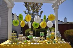 My yellow and green dessert table