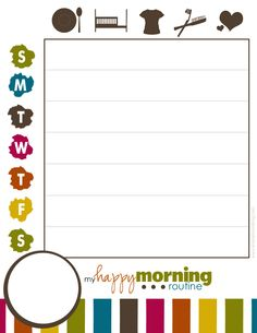 Morning routine printable and lunchbox notes