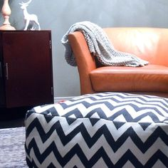 DIY Chevron Pouf: Great for the living room and for a little dog