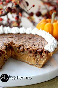 Pecan Pumpkin Pie!  Delicious pumpkin pie with a pecan pie topping!