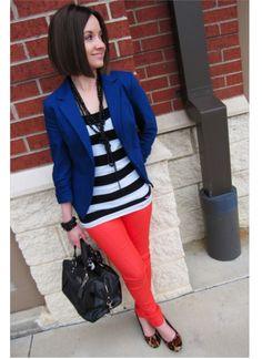 Stripes break up a color blocked outfit in the most surprising way. Love it for casual days at work with a serious handbag.
