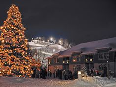 The lighting of the trees is a magical time at Crystal Mountain, Michigan.