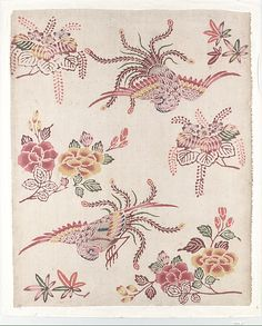 Bingata panel with hôo birds and flowers  Date: 18th century Culture: Japan (Ryukyu Islands) Medium: Cotton Dimensions: 14 3/4 x 17 3/4 in. (37.5 x 45.1 cm) Classification: Textiles-Painted and Dyed