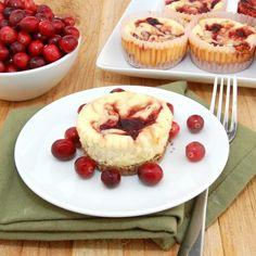 Mini Cranberry Swirl Cheesecakes with ChocolateCrust