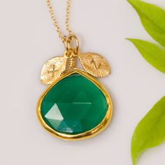 Green Onyx bezel Necklace - Custom Initial - Personalized Jewelry - St Patricks Day - Monogrammed Initials Necklace. $64.00, via Etsy.