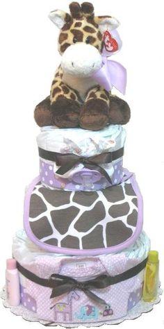Giraffe Baby Girl Diaper Cake Baby Shower Gift by RubysDiaperCakes