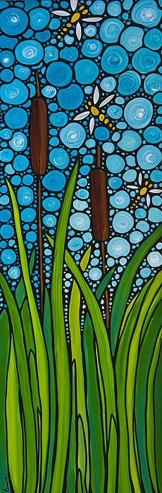 Dragonfly Pond by Sharon Cummings.  #Dragonflies #Art #Stainedglass #Painting #Homedecor