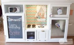 Repurposed Entertainment Center Turned Play Kitchen turn play, repurpos entertain, center turn, furnitur, diy, entertain center, play kitchens, entertainment center kitchen, entertainment centers