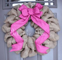 Burlap wreath with Pink Bow
