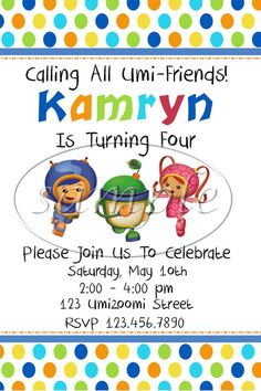 PRINTABLE DIGITAL DESIGN Team Umizoomi Party Invitations - Team Umizoomi Party - Team Umizoomi Birthday