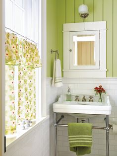Pretty green and white bathroom