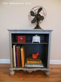 The Weathered Door: Grey two-toned Bookshelf / Nightstand