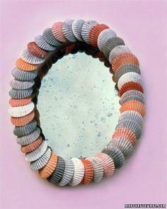 Shell Mirror mirrors, sea shell, decorating ideas, shell mirror, seashell crafts, wreath, beach, seashel mirror, shell projects