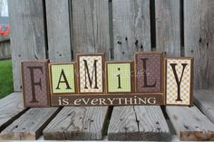 Family is everything Home Wood Block Set Gift Seasonal Wedding Birthday Personalized Unique Decor