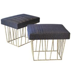 Cage Stool Pair by Anne and Vincent Corbiere | From a unique collection of antique and modern stools at http://www.1stdibs.com/furniture/seating/stools/