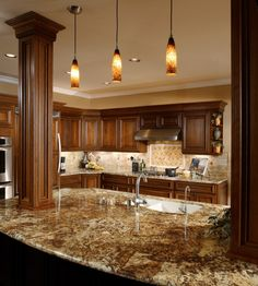 Columns on the counters. Love this!