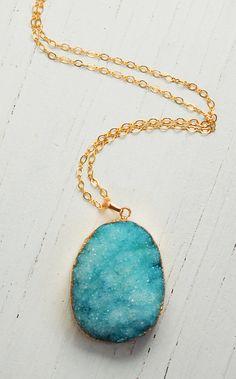 Aqua AGATE Druzy NECKLACE Beautiful Stone