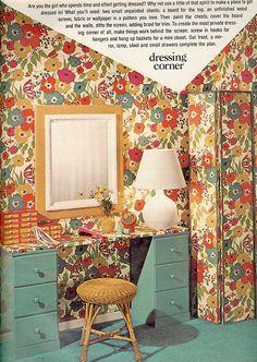 vintag, floral wallpap, colors, wallpapers, 1970s, seventeen magazine, flowers, flower wallpap, bedroom