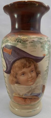 Antique Bristol French Military Boy Tall Vase Victorian Hand Painted Blue Eyed | eBay