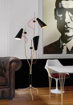 evans unique floor standing bar vintage lamp  http://www.delightfull.eu/en/heritage/floor/evans-standing-lamp.php   vintage floor lamps,mid-century modern lighting, unique lamps, stilnovo lamps, dining table Lamp, vintage desk lamps, brass sconces