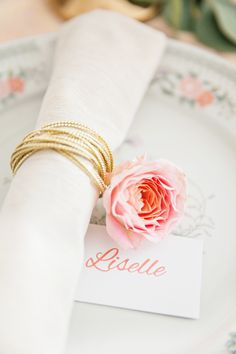 Pink and gold place setting   Photography: Je Taime Beauty - www.jetaimebeauty.com  Read More: http://www.stylemepretty.com/little-black-book-blog/2014/05/28/boudoir-bridal-shower-inspiration/