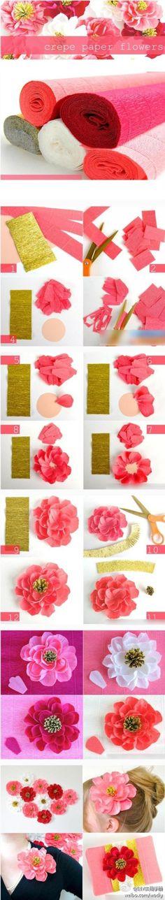 DIY花朵,动手创造美丽哦~,Cool Flower Crafts , Paper Crafts for Teens , paper, craft, flower,wrap, gift, decor,blumen,basteln,bastelvorlage,tutorial diy, spring kids crafts, paper flowers