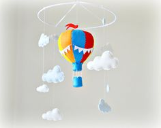 Hot air balloon mobile - baby mobile - You pick your colors - red, yellow, orange, blue, white - Nursery decor