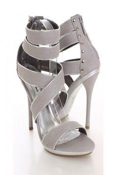 Silver Shimmer Open Toe Heels