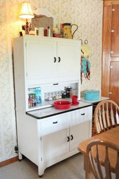 Hoosier cabinets w/vintage items