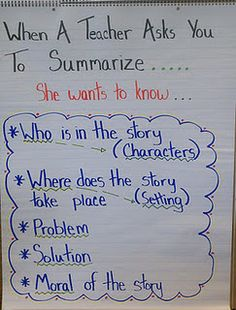 anchor chart for summarizing