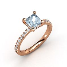 Princess Aquamarine 14K Rose Gold Ring with White Sapphire | Carrie Princess Ring | Gemvara