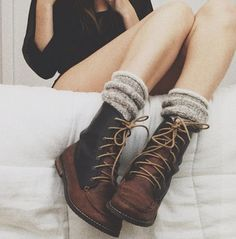 boots + socks shoes, fashion, style, ankle boots, leather boots, brown boots, winter boots, boot socks, combat boots