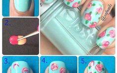 easy vintage flower nail art