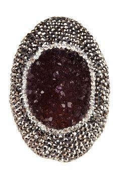 Druzy Shimmer Amethyst  Ring