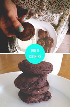 Easy Rolo cookies (made with 4 ingredients- butter, egg, box of devil's food cake & a bag of rolos)