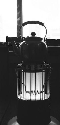 Japanese kettle on stove