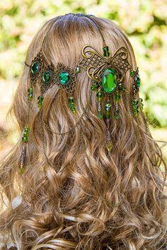 Emerald Dreams Circlet, stunning bronze  Emerald green hand made filigree bridal circlet.