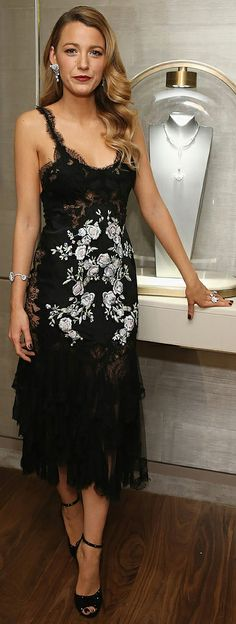 Blake Lively went for old Hollywood glamour in a black Marchesa dress