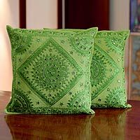 Hand-embroidered cotton cushion covers of Rajasthan