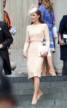 in Alexander McQueen Dress and Jane Taylor Hat For Jubilee Thanksgiving  Service 6-5-12