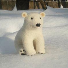 Handmade Needle Felted Wool Polar  by binnebear