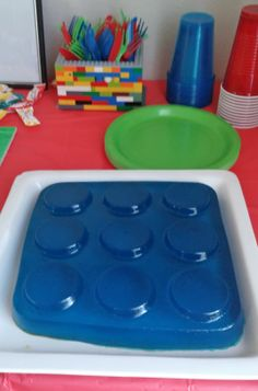 Lego Jello. I found a container at Dollar Tree that was supposed to be for carrying cupcakes and it worked out as a perfect jello mold.
